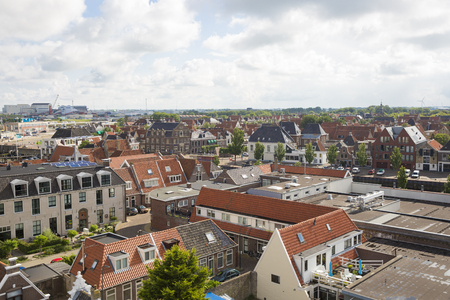 Aerial view over the orange roofs of Harlingen,, Friesland, The Netherlands