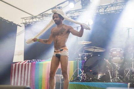 vocalist: Traena, Norway - July 6 2017: concert of Norwegian Punk Rock band Kuuk, at Traenafestival, music festival taking place on the small island of Traena