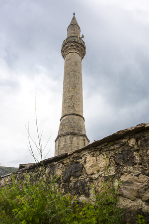 Minaret of Tabacica Mosque in Mostar, Bosnia and Herzegovina