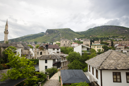 View over the old town of Mostar with minaret of Koski Mehmed Pasha Mosque, Bosnia and Herzegovina