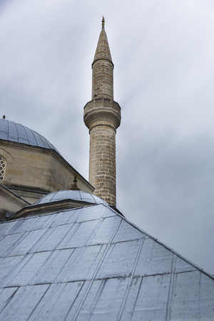 Minaret and metal roof of Koski Mehmed Pasha mosque, Mostar, Bosnia and Herzegovina