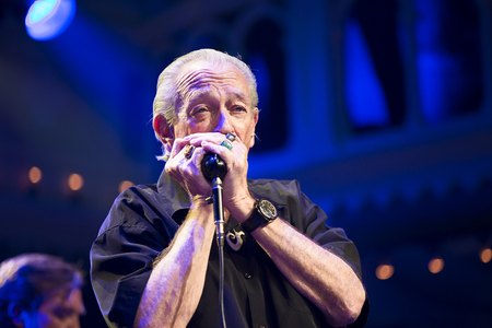Amsterdam, The Netherlands - 9 April 2018: Concert of American singer and guitarist Ben Harper and bluesman and harmonica player Charlie Musselwhite in Paradiso Amsterdam. Editorial