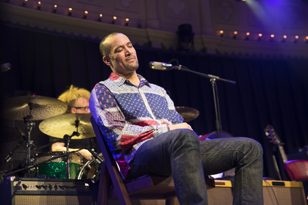 Amsterdam, The Netherlands - 9 April 2018: Concert of American singer and guitarist Ben Harper and bluesman and harmonica player Charlie Musselwhite in Paradiso Amsterdam. Redakční