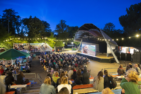 Amsterdam, The Netherlands - August 17 2018: open air screening of Kenyan film Supa Modo at  Vondelpark Openluchttheater during World Cinema Amsterdam, a world film festival held from 16 to 25/08/2018