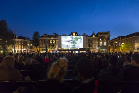 Amsterdam, The Netherlands - August 22 2018: open air screening of Brazilian film Benzinho at Marie Heinekenplein, during World Cinema Amsterdam, a world film festival held from 16 to 25/08/2018
