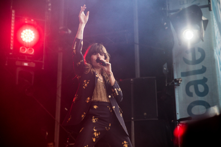 Nyon, Switzerland - 27 July 2019 :  private take away concert of French rock Singer Lou Doillon, she is the daughter of jane Birkin and half-sister of Charlotte Gainsbourg Editorial