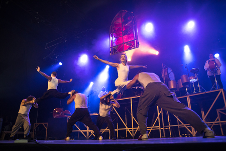 Nyon, Switzerland - 26 July 2019 :  circus and musical performance of Cirque Alfonse, a circus company from Quebec, Canada