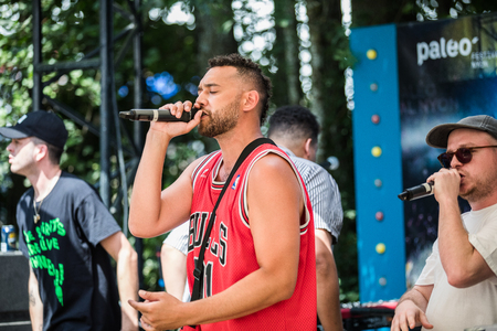 Nyon, Switzerland - 25 July 2019 :  private showcase concert of Canadian rap band form Quebec Dead Obies
