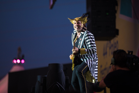 Nyon, Switzerland - 24 July 2019 :  concert of extravagant French singer-songwriter and guitarist Matthieu Chedid called –M-