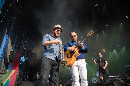 Nyon, Switzerland - 23 July 2019: concert of Canadian rock band from Quebec Les Cowboys Fringants at Paleo Festival
