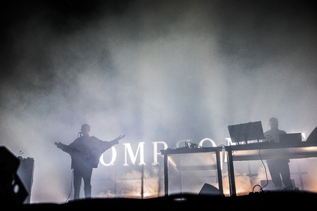 Nyon, Switzerland - 23 July 2019: concert of Kompromat an electroindus project inspired by old berliner techno music, performed by Vitalic & Rebeka Warrior Editöryel