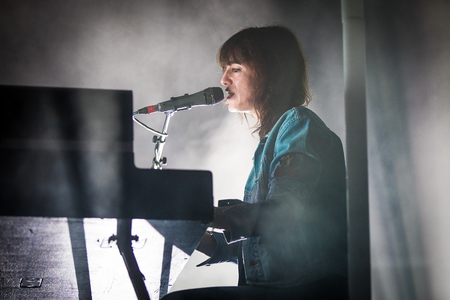 Nyon, Switzerland - 23 July 2019: concert of French singer  Charlotte Gainsbourg at Paleo Festival. She is the daughter of French singer and song writer Serge Gainsbourg