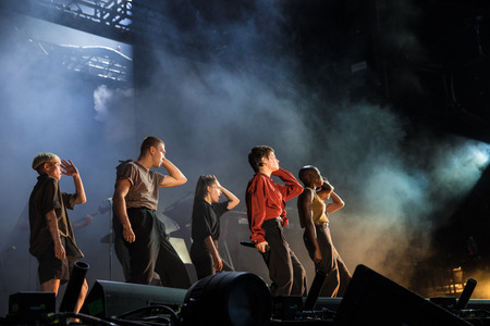 Nyon, Switzerland - 23 July 2019: concert of French singer Christine and the Queens at Paleo Festival Editöryel