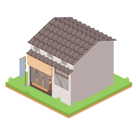 Isometric Drawing of Traditional Japanese Shop