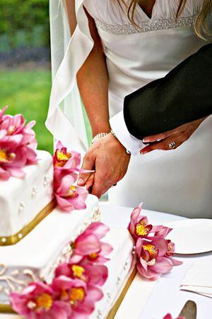 Una novia y un novio es cortar su pastel de bodas