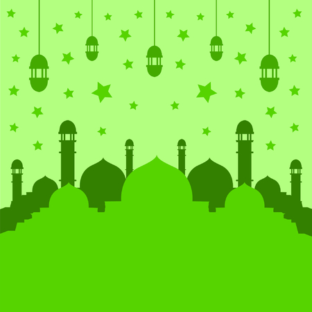Islamic Mosque Silhouette Green Background With Lantern And Stars Ilustração
