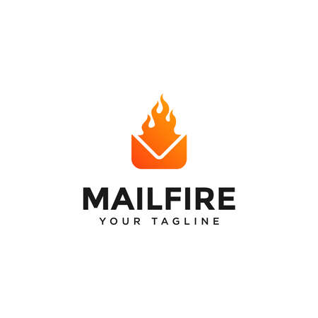 Modern Mail and Fire Logo Design Template Stock Illustratie
