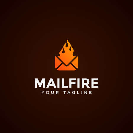 Modern Mail and Fire Logo Design Template  イラスト・ベクター素材