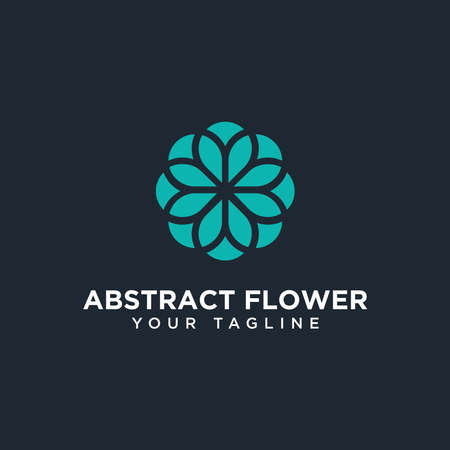 Circle Abstract Flower Logo Design Template