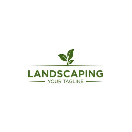 Simple Landscaping Logo Design Template Çizim