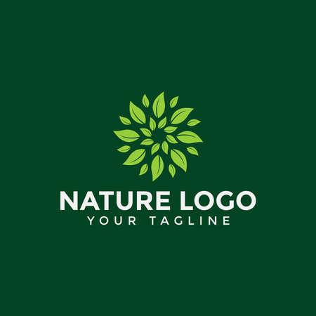 Circle Leaf Logo Design Template Illustration