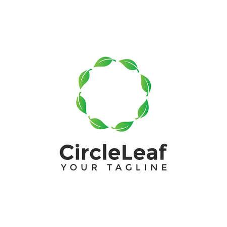 Circle Leaf Logo Design Template Ilustração