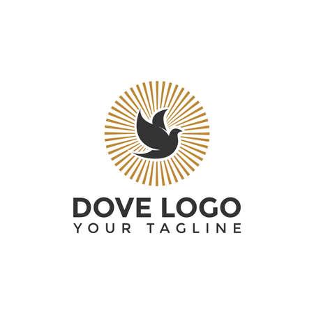 Religious Flying Dove Bird Logo Design Template