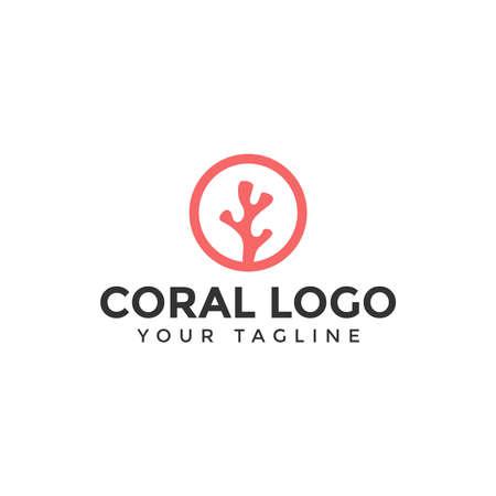 Illustratie van een eenvoudig koraallogo-ontwerpsjabloon voor uw bedrijf