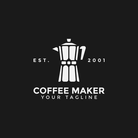 Illustration of Classic Coffee Maker Moka Pot Logo Design Template Иллюстрация