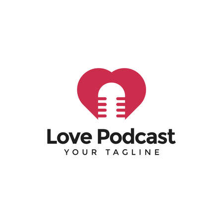 Illustration of Love and Podcast in Negative Space Logo Design Template For Your Company