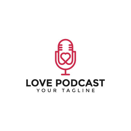 Illustration of Podcast Love Logo Line Design Template For Your Company