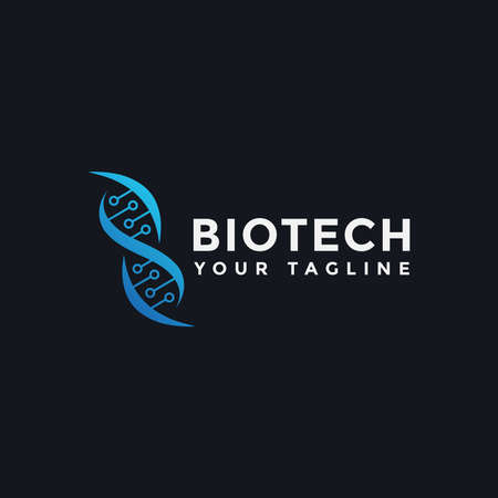 Illustration of DNA Genetic Tech Logo Design Template For Your Company