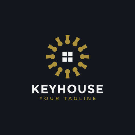 Illustration of Circle Key and Window House Real Estate Logo Design Template For Your Company