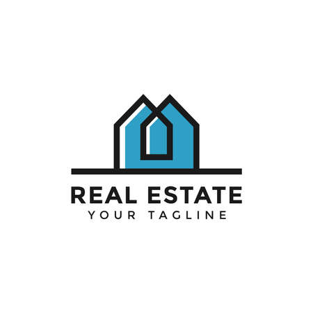 Illustration of Abstract Simple Colorful Real Estate Logo Line Design Template For Your Company
