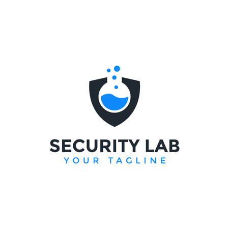 Security Shield and Lab Logo Design Template Ilustrace