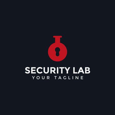 Security Key Hole Lock and Lab Logo Design Template Ilustrace