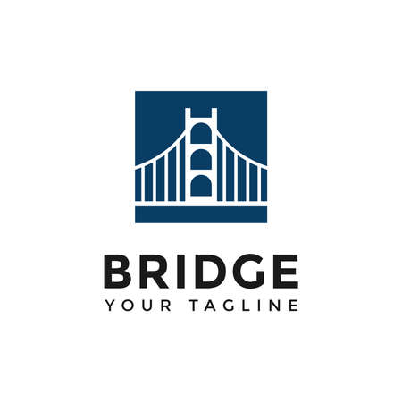 Square Bridge Logo Design Template