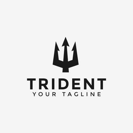 Trident Neptune Poseidon logo design Template