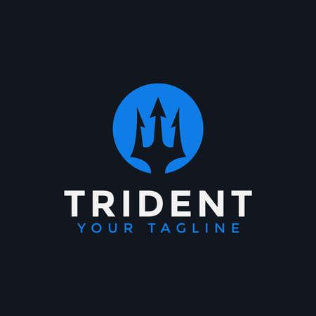 Circle Trident Neptune Poseidon logo design Template