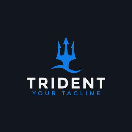 Trident Neptune Poseidon and Sea Wave logo design Template Ilustrace