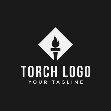 Square Flame Fire Torch Logo Design Template