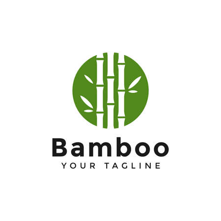 Circle Green Bamboo Logo Design Template Illustration