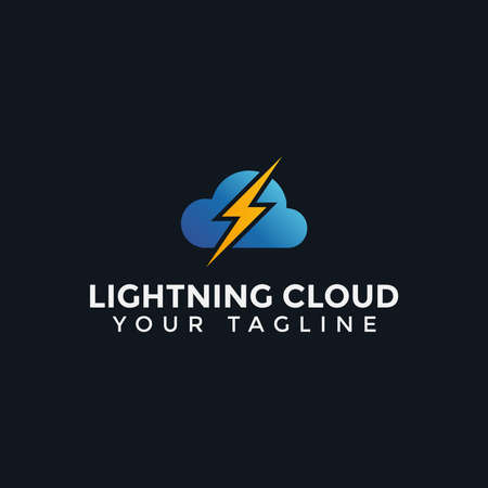 Cloud and Lightning Thunder Electric Power Logo Design Template