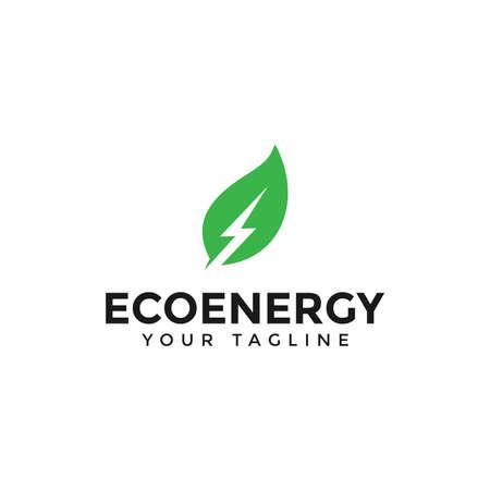 Eco Leaf and Power Energy Lightning Bolt Logo Design Template Stock fotó - 132148273