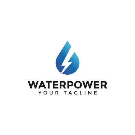 Drop Water and Power Energy Lightning Bolt Logo Design Template  イラスト・ベクター素材