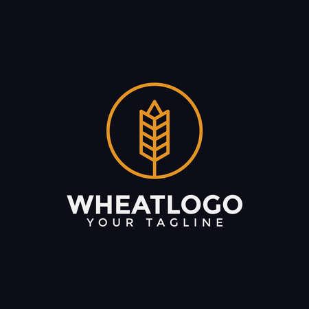 Circle Agriculture Grain Wheat Logo Design Template