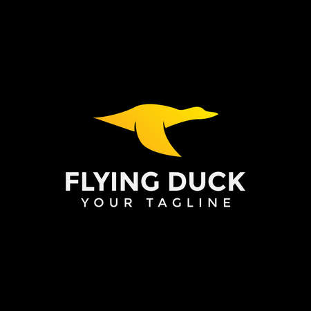 Flying Duck, Goose, Swan Logo Design Template