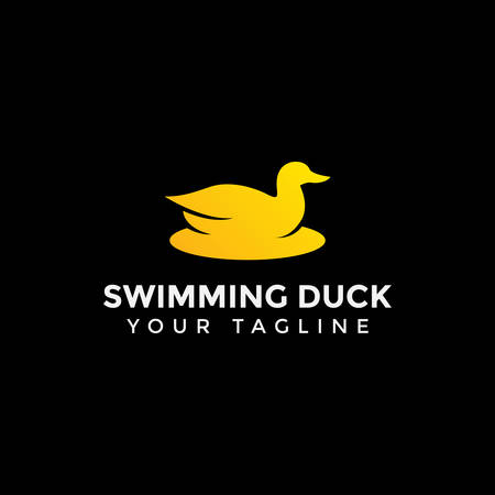 Swimming Duck, Goose, Swan Logo Design Template Stock Illustratie