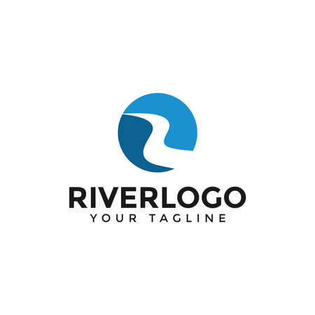 Initial of Letter R River, Creek Logo Design Template