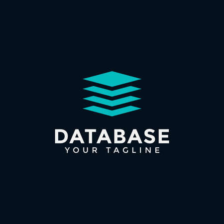 Square Database, Digital Storage Logo Design Template
